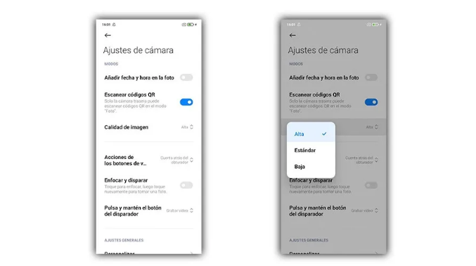 تغيير دقة الكاميرا على Android